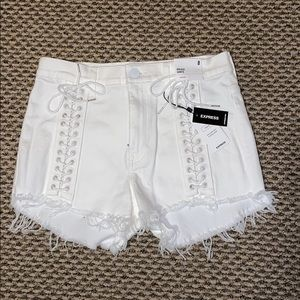 *Brand New* White Lace Up Shorts